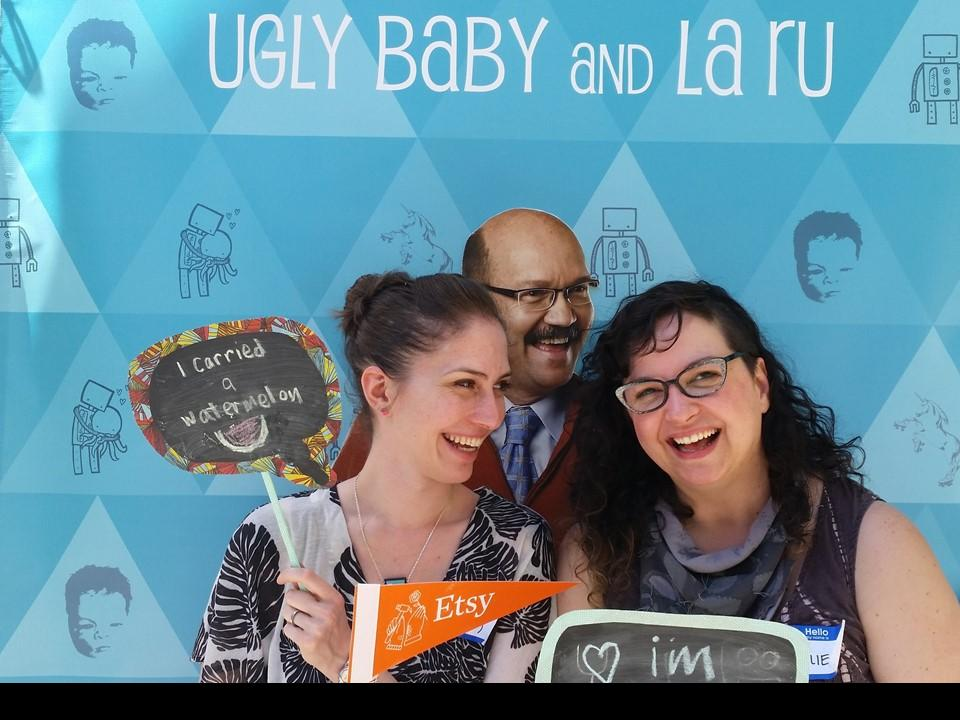 Lauren Rudeck and Rosalie Gale joined by Sweet Talkin' Steve at Etsy Craft Party 2015 photo booth