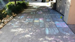 Sidewalk chalking at Etsy Craft Party 2015