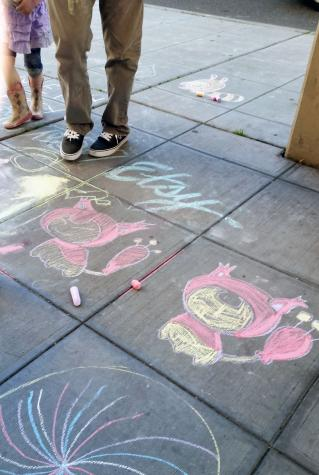 Our parties always include sidewalk chalk.